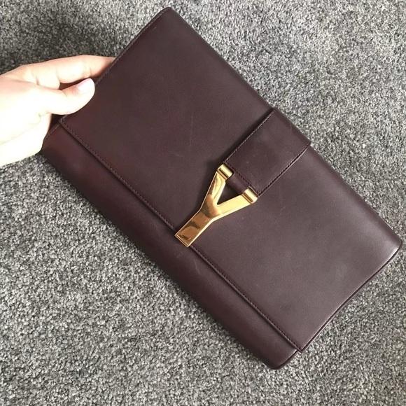 7f21654865d Yves Saint Laurent Bags | Ysl Burgundy Brown Classic Y Clutch | Poshmark